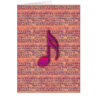 Nota musical na moda feminino na partitura cartão de nota