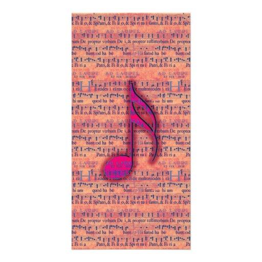 Nota musical na moda feminino na partitura cartao com fotos