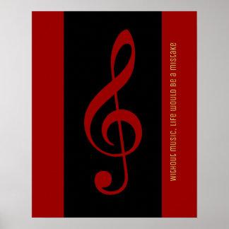 nota musical preta vermelha (clef de triplo) pôster