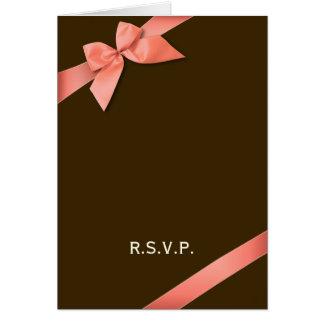 Nota vermelha coral da fita RSVP Cartão