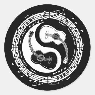 Notação de Yin Guit Adesivos Em Formato Redondos