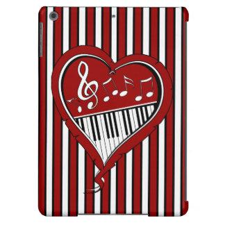 Notas à moda da música do piano em preto e branco capa para iPad air