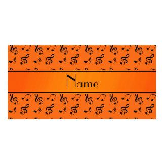 Notas alaranjadas conhecidas personalizadas da cartão com foto