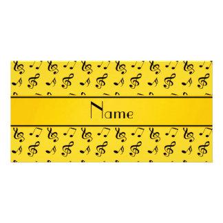 Notas amarelas conhecidas personalizadas da música cartão com foto