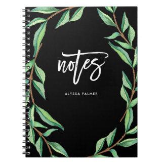 Notas botânicas escuras de | cadernos espiral