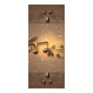 Notas chaves e elementos florais convite 10.16 x 23.49cm