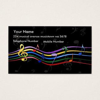 Notas coloridas arco-íris da música cartão de visitas