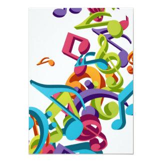 Notas coloridas legal & sons da música convite 12.7 x 17.78cm