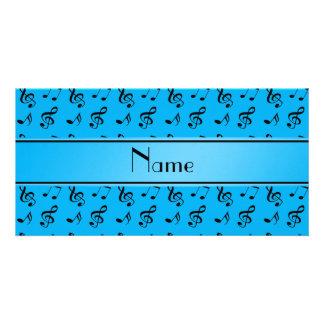 Notas conhecidas personalizadas da música dos azul cartão com fotos