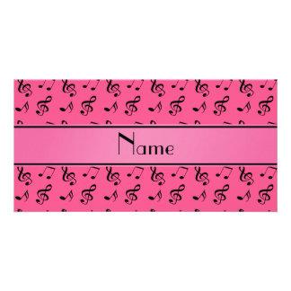 Notas cor-de-rosa conhecidas personalizadas da mús cartão com foto personalizado