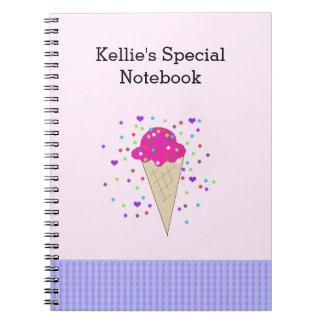 Notas cor-de-rosa do sorvete dos confetes caderno