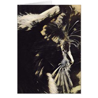 Notas da arte do gato, perfil do gato preto (vazio cartão comemorativo
