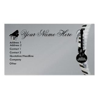 Notas da guitarra e da música do teclado de piano  cartão de visita