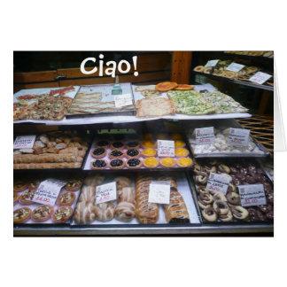 Notas da loja de pastelaria de Roma Italia, Ciao!  Cartão