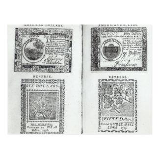 Notas da moeda continental cartões postais