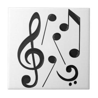 Notas da música azulejo quadrado pequeno