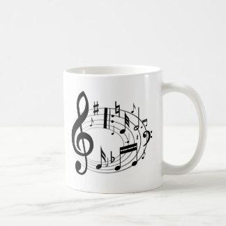 Notas da música caneca de café