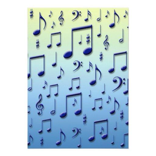 Notas da música convites personalizados