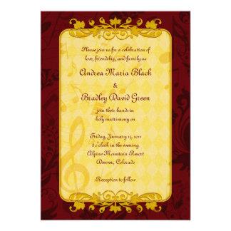 Notas da música de Borgonha e de ouro que Wedding  Convites