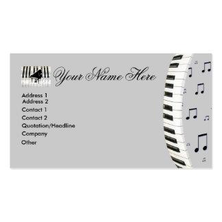 Notas da música do teclado de piano cartão de visita