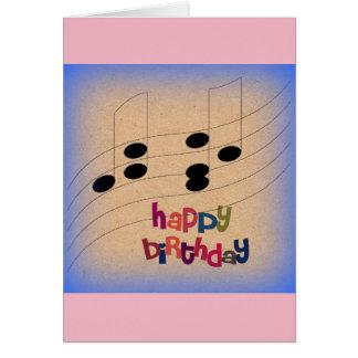 Notas da música e amigo do cartão do aniversário