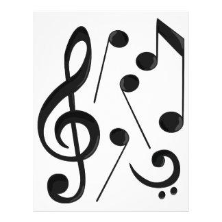 Notas da música modelo de papel de carta