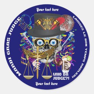 Notas da opinião de cores do juiz 30 do carnaval adesivos redondos