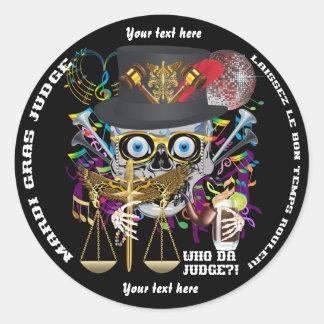 Notas da opinião de cores do juiz 30 do carnaval adesivo em formato redondo