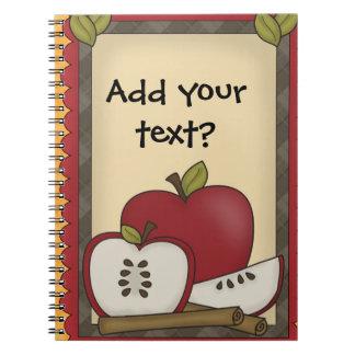 Notas das maçãs ou caderno espiral das nomeações