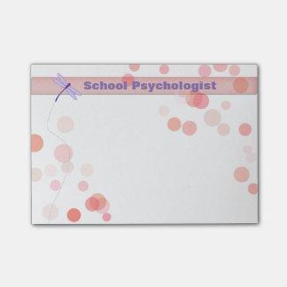 Notas de post-it da libélula do psicólogo da bloquinho de notas