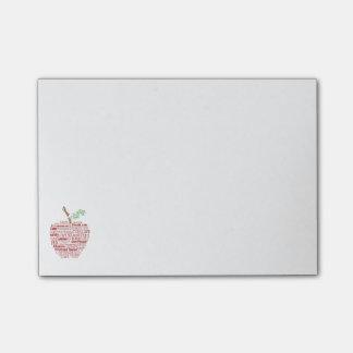 Notas de post-it da maçã da arte da palavra do sticky notes