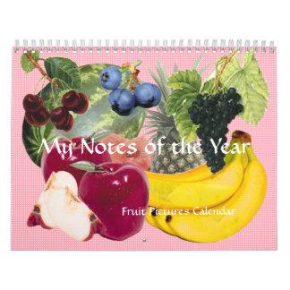 Notas do calendário da fruta do ano