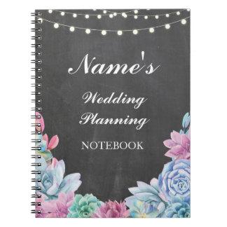 Notas do planeamento do casamento do caderno dos