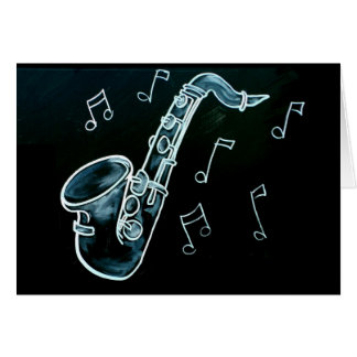 Notas do saxofone e da música cartão comemorativo