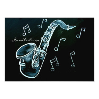Notas do saxofone e da música convite 12.7 x 17.78cm