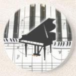 Notas do teclado e da música de piano de cauda porta copos