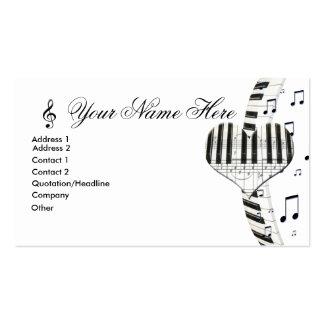Notas do teclado e da música de piano do coração cartão de visita