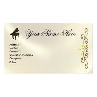 Notas e G-Clef da música do teclado de piano de ca Cartões De Visita