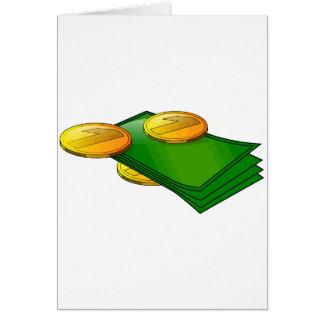 Notas e moedas cartão comemorativo