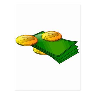Notas e moedas cartão postal