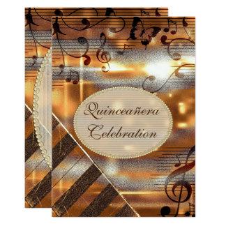 Notas Glittery Quinceañera da música da prata & do Convite 12.7 X 17.78cm