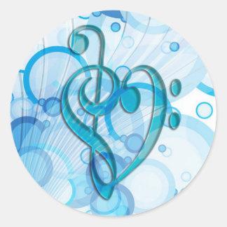 Notas legal bonitas da música junto como um adesivos redondos