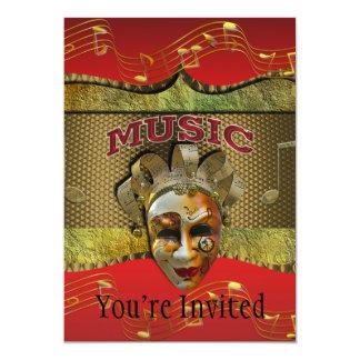 Notas metálicas de sorriso da música da máscara do convite 12.7 x 17.78cm