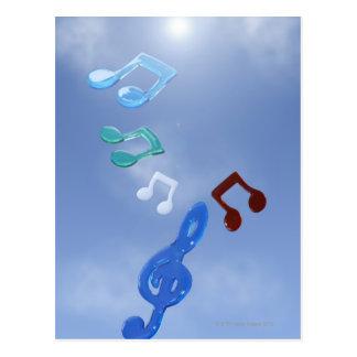 Notas musicais 3 cartao postal