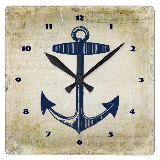 Notas musicais afligidas do marinho âncora náutica relógio de parede