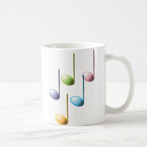 Notas musicais coloridas caneca