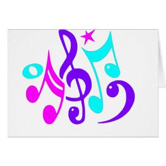 Notas musicais coloridas cartão comemorativo