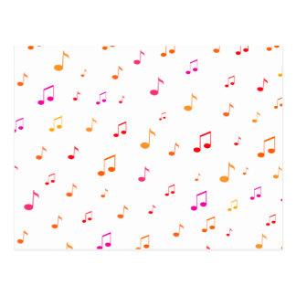 Notas musicais coloridas: cartão postal