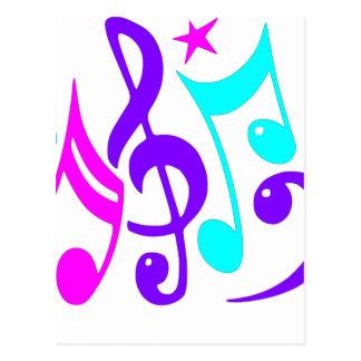 Notas musicais coloridas cartão postal