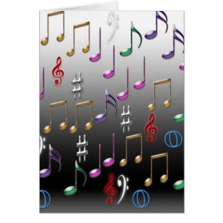 Notas musicais coloridas no fundo cinzento cartoes